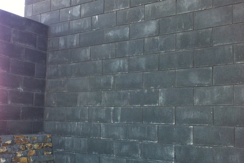 Unsightly staining on masonry block walls