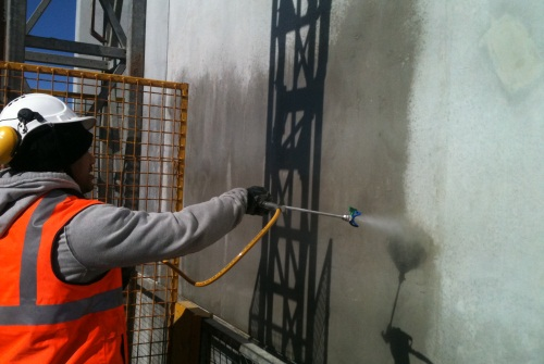 Protectosil BHN Silane treatment to precast concrete walls before application of Sto Lotusan